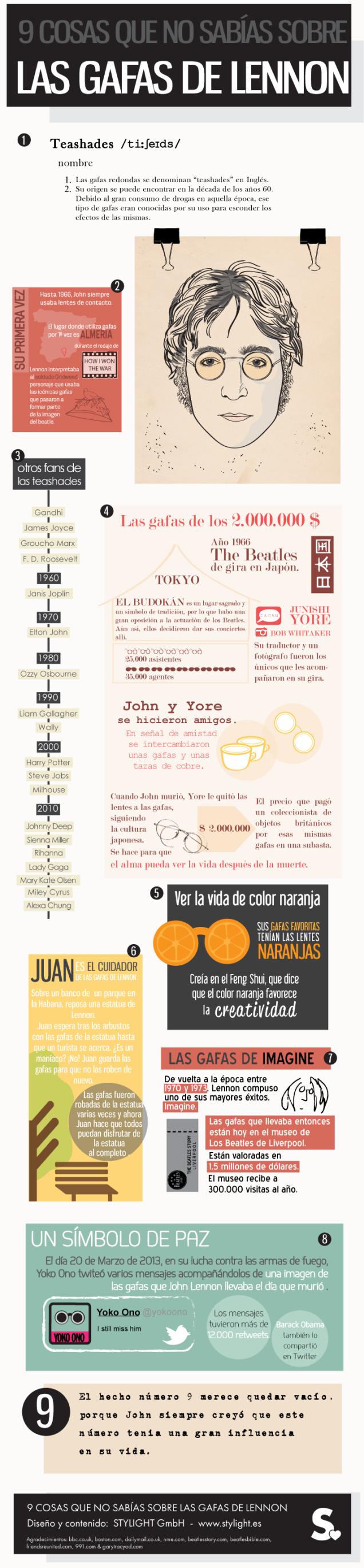 Infografía - 9 cosas que no sabías de las gafas de John Lennon